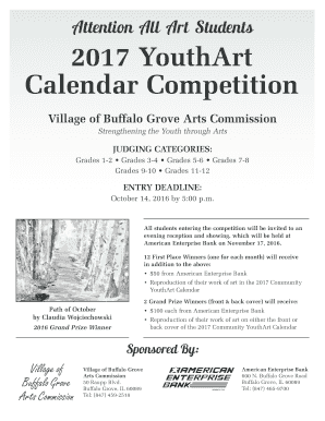 Attention All Art Students 2017 YouthArt Calendar Competition