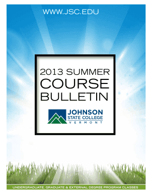 jscedu Fillable Online jsc 2013 suMMeR cOuRse - Johnson State College - jsc ...