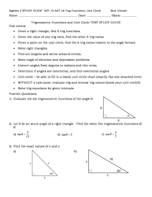 Fillable Online lcps Trigonometry Functions and Unit Circle