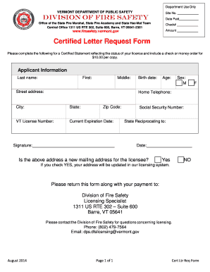 Fillable request letter to admin for stationary edit online print certified letter request form division of fire safety vermont spiritdancerdesigns Images