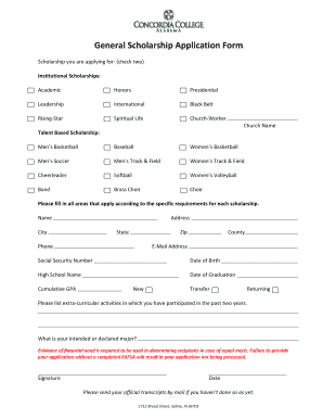 Generic scholarship application form to Download in Word & PDF ...