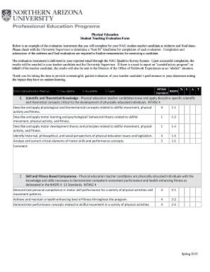 Student Teaching Evaluation Form Ithaca College