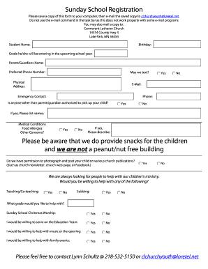 132 Printable Sunday School Registration Form Templates