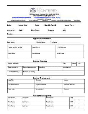 Applicant Information Current Address Current ...   Monterey At Lex  Landlord Verification Letter Sample