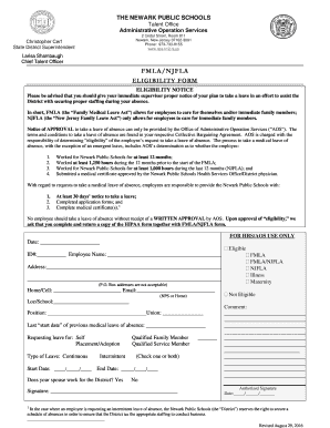 Fillable Online newark nj aft FMLA - Eligibility Form - Newark ...