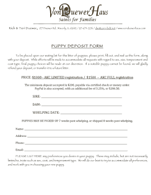 21 Printable Puppy Sales Receipt Forms And Templates Fillable Samples In Pdf Word To Download Pdffiller
