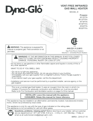 Fillable Online VENT-FREE INFRARED GAS WALL HEATER - pdf lowes com