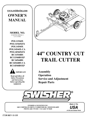 Fillable Online Swisher RC11544BS Manual PDF