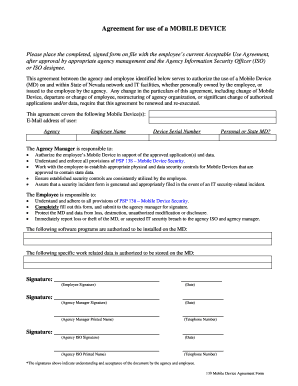 mobile device agreement form nvgov state of nevada