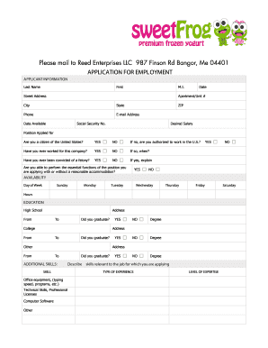 fillable online application for employment sweetfrog fax email