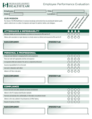 HT Employee Performance Evaluation Form - healthteam msu
