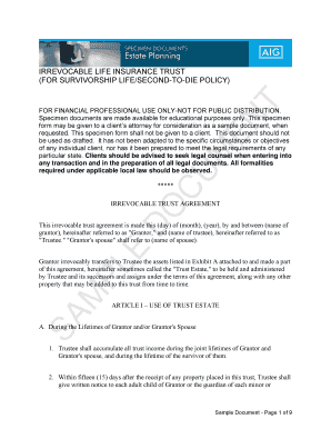 Printable specimen form of irrevocable power of attorney ...