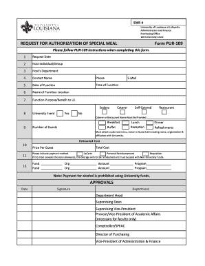 Editable purchase requisition form template excel fill out special meal request form pur 109 purchasing university of pronofoot35fo Images