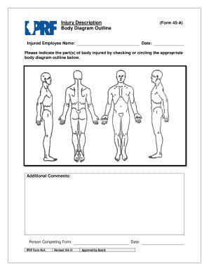 fillable online injury description body diagram outline fax email rh pdffiller com