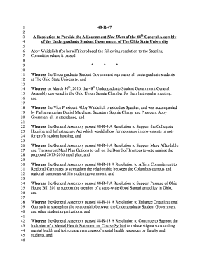 48-R-47 A Resolution to Provide the Adjournment Sine Diem of the ... - usg osu