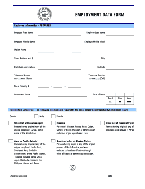 Fillable Online EMPLOYMENT DATA FORM - Monmouth County, New Jersey ...