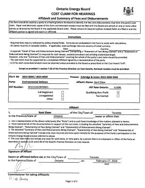 affidavit form ontario - Editable, Fillable & Printable