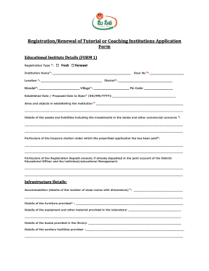 registration form format for coaching institute - Edit, Fill