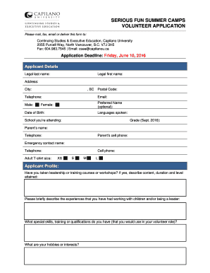 Executive Profile Template. New Volunteer Application Form   Continuing  Studies U0026 Executive .  Executive Profile Template