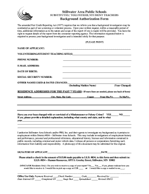 Stillwater Area Public Schools Background Authorization Form - isd834csb demo ties k12 mn