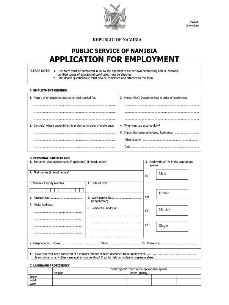 large  Namibian Government Application Form on