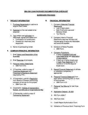 sba 504 loan package checklist