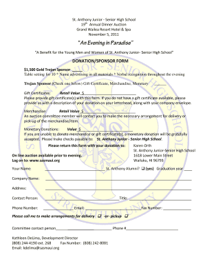 Donation Form - St. Anthony Junior-Senior High School - sasmaui  sc 1 st  PDFfiller & table setting for dinner Forms and Templates - Fillable \u0026 Printable ...