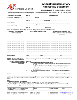 Annual Fire Safety Statement Form 15a Ashfield Council ...