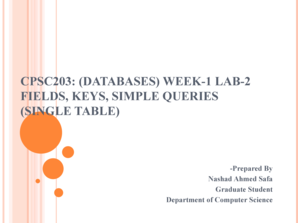 Cpsc203: (databases) week-1 lab-2 fields, keys, simple queries - wiki ucalgary