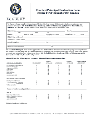 Principal Evaluation Form | Fillable Online Mtbethelchristian Teacher Principal Evaluation Form