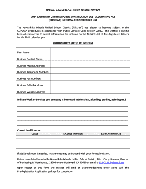 Contractor's Letter of Interest Form