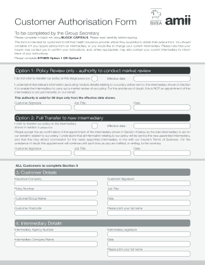 amii customer authorisation form