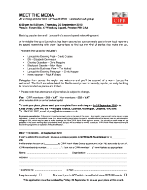 Fillable Online cipr co 30 Sep 10 Booking Form  Statistical
