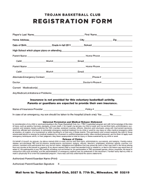 Basketball Application Form - Fill Online, Printable, Fillable ...