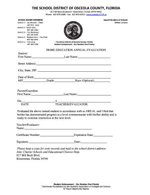 Home School Portfolio Evaluation Forms For Osceola County - Fill ...