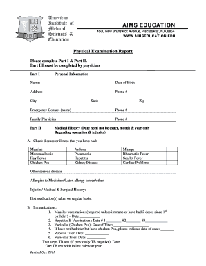 Fillable Online aimseducation Physical Fitness Form - AIMS ...