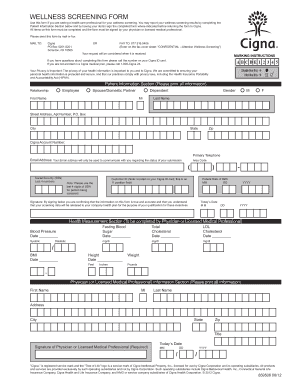 Fillable Online WELLNESS SCREENING FORM - One Beacon Benefits Fax ...