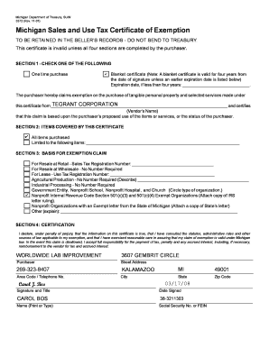 Fillable Online Form 3372, Michigan Sales and Use Tax Certificate ...