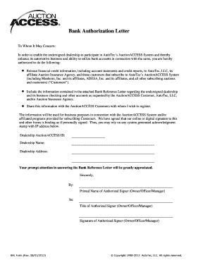 Fillable online bank authorization letter metro auto auctions fax fill online altavistaventures Image collections