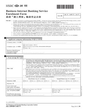 Business Internet Banking service enrollment form - HSBC HK
