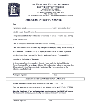 notice to vacate letter notice of intention to vacate forms and templates 1511