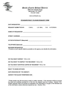 Fillable Online Public Records Request Form - South Fayette ...