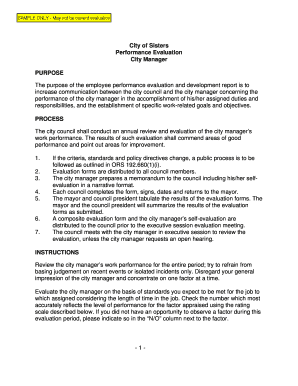 Evaluation report sample for employee edit print download 1 city of sisters performance evaluation city manager purpose bb altavistaventures Choice Image