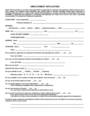 EMPLOYMENT APPLICATION - Sports City