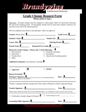 Fillable Online Grade change form- instructions - SharpSchool Fax ...