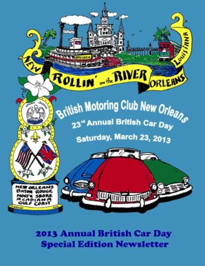 Fillable Online Bmcno Car Show British Motoring Club New Orleans - New orleans car show