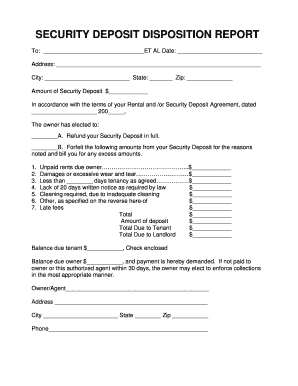 8 Printable Security Deposit Agreement Form Templates