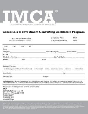 Investment management consultants association imca options certificate program