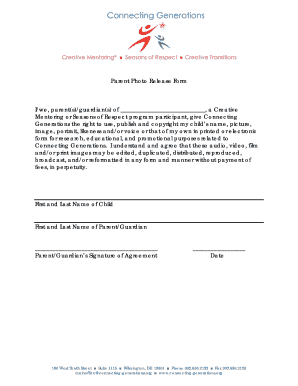 Parent Release Form For Video Photo   Conn