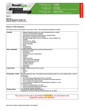 Risk Assessment Template (Form 5A) - Breakbulk